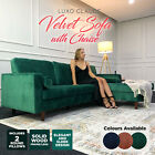 3 Seater Velvet Fabric Corner Sofa Lounge Suite Couch W/ Chaise GREEN NAVY BLUE