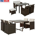 5/6 Pcs Outdoor Patio Dining Set Rattan Wicker Sofa Table Furniture Garden Yard
