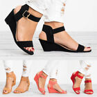 Women's Ankle Strap Buckle Sandals Ladies Wedge Heel Summer Casual Shoes Size