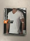 HEAD Men's Size Medium 4 Pack Classic Cotton White V-Neck T-Shirt Undershirt
