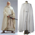 The Lord of the Rings Gandalf White Robe Cape Costume Cosplay Cloak Outfit