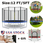 Round Trampoline with Enclosure, Net W/ Spring Pad Ladder Bouncing Bed image