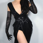 SEQUINS Long Gloves Tulle Lace Mesh Semi Sheer TECH Touchscreen Evening Black