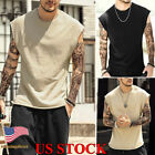 Mens Sleeveless T Shirt Muscle Tee Hippie Shirts Casual Yoga Plain Tank Tops Gym image