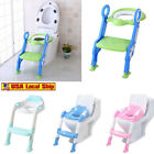 Kid Training Toilet Potty Trainer Seat Chair Toddler W/Ladder Step Up Stool Blue image