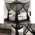Black Four Corners Post Mosquito Net Curtain Bed Canopy Outdoor Indoor image