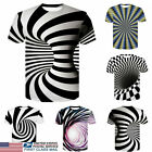 US 3D Optical illusion T-Shirt Hypnosis Swirl Print Men Short Sleeve Tee image