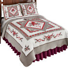 Refreshing Silver and White Cardinal Quilt, Winter Seasonal Accents in Red image
