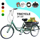 24'/20' Adult Tricycle 3-Wheel Trike Cruiser Bicycle w/Basket for Shopping