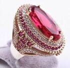 Turkish 18K Yellow Gold Filled Red Ruby White Topaz Ring Women Wedding Jewelry image