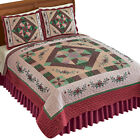 Collections Etc Diamond Patch Quilt BURGUNDY/CAMEL/ TWIN image