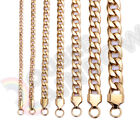"Men's Women's Stainless Steel Necklace Gold Cuban 3-12mm Chain 18""-36""Link C08"