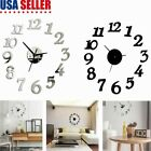 Modern DIY Wall Clock 3D Mirror Sticker Unique Number Clock Home Office Decor