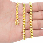"10K Yellow Gold Solid 2.7mm-10mm Miami Cuban Link Chain Necklace Bracelet 7""-30"""