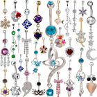 Womens Rhinestone Navel Rings Belly Button Bar Ring Dangle Body Piercing image