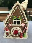 LED LIGHTED ICE CREAM GINGERBREAD HOUSE CLAY XMAS DECOR CANDY CANE ST. NICK
