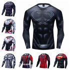 Men's T-shirts Compression Superman 3D Printed Tee Long Sleeve Gym Black Tops image