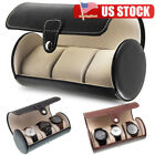 3 Slot Round Watch Storage Organizer Case Leatherette Roll Great Watch Case US image