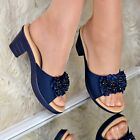 Ladies Womens Low wedge Heel Sandals Slip On Mules Flower Shoes Comfy size 3-8