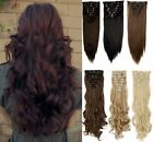 Natural Clip in Full Head Hair Extentions Synthetic Chocolate Brown Swedish plum