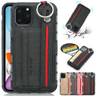 For iPhone 11 Pro Max Card Slots Canvas Case Shockproof Bumper Strap Cover XS XR