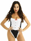 3Pcs Women French Maid Cosplay Dress Set Fancy Lingerie Outfit Bodysuit Costume