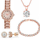 ITALY MADE 18K Rose Gold Plated Watch Set Women with Bracelet Necklace, Studs image