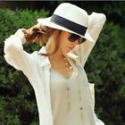 Kyпить US Women Men Panama Style Cap Summer Fedora Straw Wide Brim Beach Sun Hat Gift на еВаy.соm