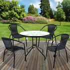 5pc Garden Furniture Set Wicker Pp Rattan Bistro Chairs Round Square Glass Table