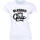 Blessed With Girls Shirt Mom Cute Daughter Christian Mommy Tee Women's T-Shirt