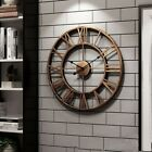 3D Circular Retro Roman Wrought Hollow Iron Clocks Mute Home Decor Wall Clock