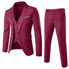 Men's Slim Formal Business Wedding Party Suit 3 Piece Jacket Vest and Pants Sets