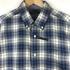 Nautica Mens Long Sleeve Button Down Navy Blue Tartan Plaid Shirt Wrinkle Free