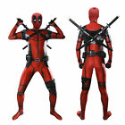 Men Boy Marvel Deadpool Bodysuit Cosplay Xmas Costume Helmet Mask Jumpsuit Suit