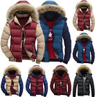 Men Padded Bubble Fur Hoodie Coats Winter Warm Thick Puffer Quilted Jacket Parka