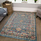 Teal Blue Traditional Rug   Vintage Distressed Oriental Mat   Cheap Rugs...
