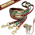 Genuine Leather Personalized Dog Leash Engraved ID Name Tag for Small Large Dogs