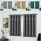 Thermal Blackout Eyelet Ring Top Bedroom & Kitchen Small / Short Window Curtains