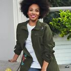 AVON Ladies Womens Floral Embroidered Military Utility Jacket Khaki Green Siz...