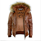 Mens Fur Hood Bomber Synthetic Leather Jacket Tan Timber Brown Puffer Padded