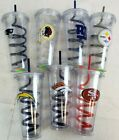 NFL Team 16oz Plastic Tumbler Cup Mug Swirl Straw Twist Lid Double Walled A44 $9.45 USD on eBay