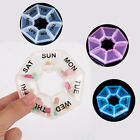 7 Day Portable Weekly Medicine Tablet Pill Box Holder Round Transparent  Plastic