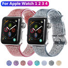 Silicone Band For Apple Watch Series 4 3 2 1 Transparent Glitter Women Bracelet image