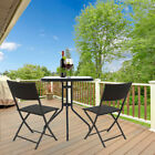 Garden Patio Black Furniture Set 3pc 2 Seater Outdoor Table Tempered Glass Set