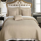Luxury Checkered Quilted Wrinkle Free Linen 6 PC Microfiber Coverlet Sets image
