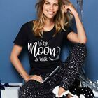 Avon Ladies Womens Black Short Sleeve Novelty Printed Pyjamas Set PJs Size 6 8