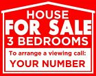 "HOUSE FOR SALE Personalised sign boards 24""x19"" Plastic Boards - 3 BEDROOMS, Red"
