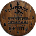 Large Wall Clock Firefighter… super courageous miracle worker funny job Bar Sign