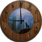 Large Wall Clock Live Freely Lone Wolf Howling Bar Sign