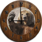 Large Wall Clock Waving Brown Grizzly Bear Paw Wave Wildlife Bar Sign